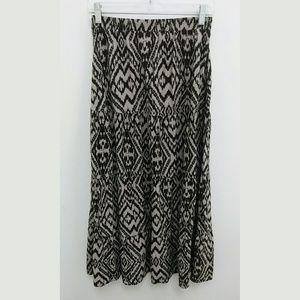 Maxi Skirt Gray Black Full Tribal XS